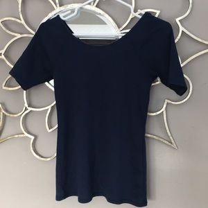 Anthropologie Tops - Anthropologie Navy Blue T-Shirt